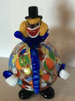 Vintage Murano Italy Italian Art Glass Multi Color Fat Round Clown 7""