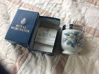 vintage royal worchester egg coddler WOODLAND original box silver plate lid