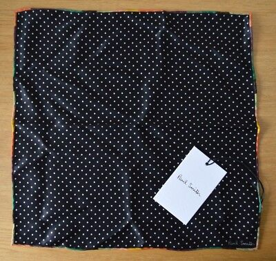 PAUL SMITH Artist stripe black white dot 100% silk pocket square handkerchief