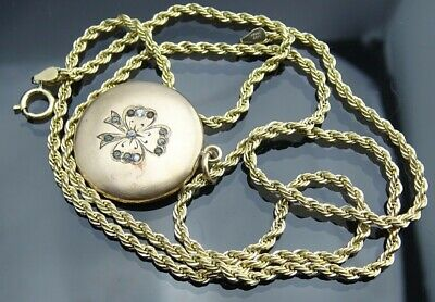 9e8c2cb53a110 Antique Gold filled large picture locket pendant  14k gold filled Rope chain