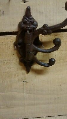 3 Fancy cast iron SWIVEL coat hooks with 3 arms