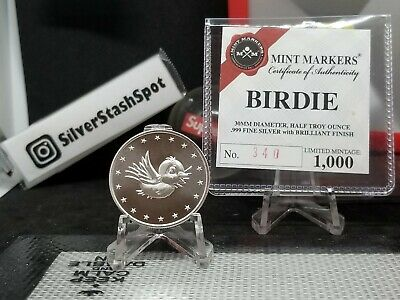 .999 Silver Mint Golf Ball Markers Birdie Half Troy Ounce Round  1000 COA 1/2 OZ