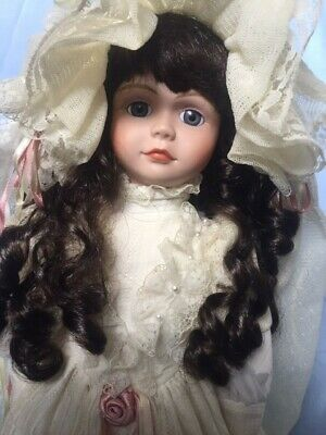 Collectable Lady Porcelain Doll on stand The Bride Beatrix 46cm High