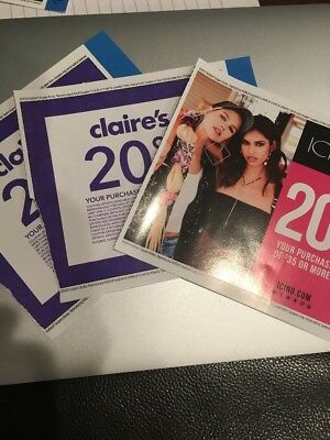 Claire's And Icing 3 Coupons Total Exp 12/31/19