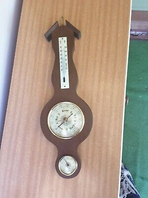 West German Wooden Weather Station Barometer Thermometer & Hygrometer Wood