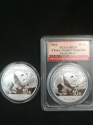 2 Coin Lot -  2016 1 oz .999 Fine Silver Chinese Panda MS70 and BU coins