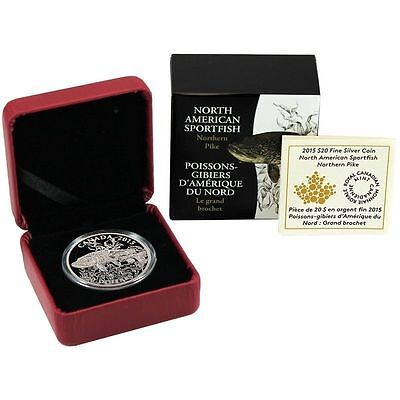 2015 Canada Silver North American Sportfish Northern Pike 1oz Proof in OGP