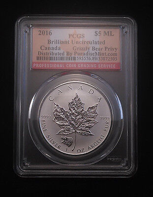 2016 Grizzly Privy Canadian Silver Maple Leaf Reverse Proof PCGS BU