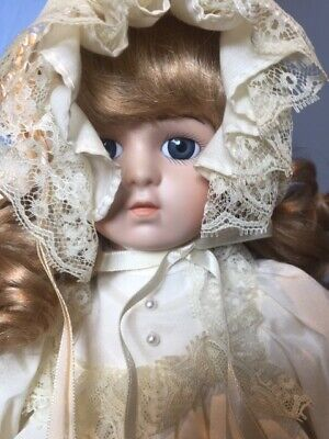 Collectable Lady Porcelain Doll on stand - Sharon 37 cm High