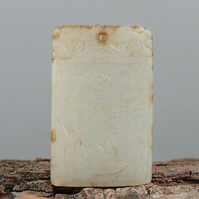 Chinese Exquisite Hand-carved people landscape Carving Hetian jade Pendant