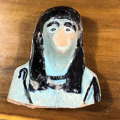 Ancient Egyptian Faience Statue Piece Talisman 800 BC Mummy Colored Artifact