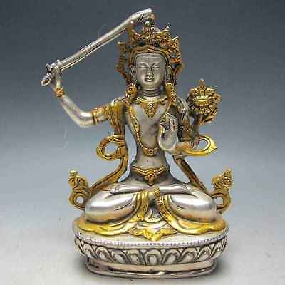 chinese old copper hand-carved KWAN-YIN statue  e02