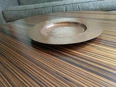 round hand hammered copper shallow dish, arts and crafts