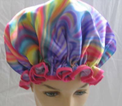 Shower Cap Xxl For Dreads Or Thick Curly Hair Water Proof Rainbow Colours A