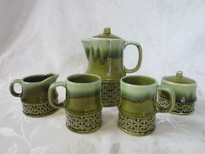 """Vintage 1970's Retro Green Coffee Set """"Typo"""" On coffee Pot Reads Nade In Japan"""