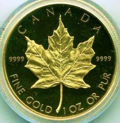 1989 Proof Gold Canada Maple Leaf Anniversary Issue $50 1 Oz .9999 Fine w/ Boxes