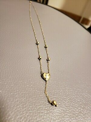 14KT Yellow Gold Heart keyhole necklace with diamond accent 1.9g