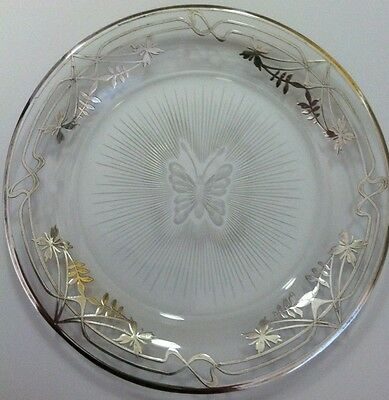 Adorable Round Cut Glass Butterfly Candy Dish Plate with Silver Overlay
