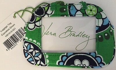 Vera Bradley Retired Cupcakes Green Lobster Clasp Luggage Tag ID Holder