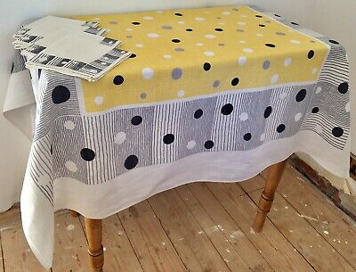 Vintage Retro Polka Dot Table Cloth & Napkins