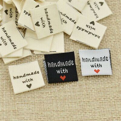 100pcs Handmade with Love Clothing Label DIY Embroidered Heart Woven Garment Tag