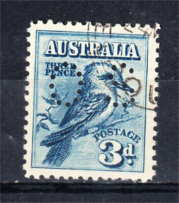 """1928 3d BLUE KOOKABURRA PERF """"OS"""" CANCELLED TO ORDER AND UNHINGED W/FULL GUM"""