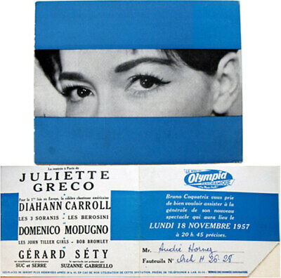 Carton d'invitation Juliette Greco Bruno Coquatrix 1957 André Hornez music-hall