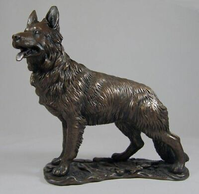 Large Bronze Effect Sculpture German Shepherd Alsatian Dog Statue Ornament Gift