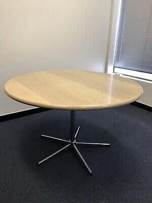 round timber Office meeting table with chrome base 0.74m H × 1.2m W