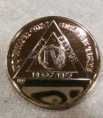 4 YEAR AA GOLD/SILVER Tone Bi-Plated Alcoholics Anonymous CHIP COIN MEDALLION