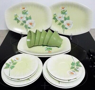 Bessemer 4 place setting White Rose pattern Very Good Condition 1 extra cup