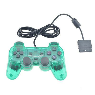 Green Sony Playstation 2 Transparent Wired Dualshock PS2 Game Controller
