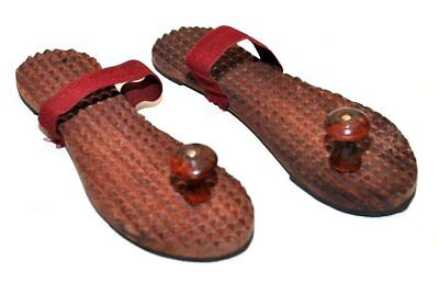 Carved Wood Indian Padukas Sandals Khadau Shoes Mens accupressure all size avail