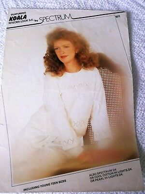 ORIGINAL VINTAGE 1985  SPECTRUM KNITTING PATTERN No.6012 SWEATER with LACY BANDS