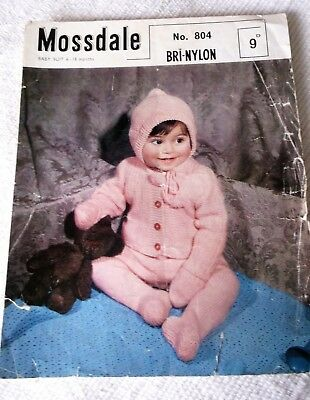 ORIGINAL, VINTAGE, MOSSDALE, KNITTING PATTERN, No.804, BABY SUIT, in 2 sizes.