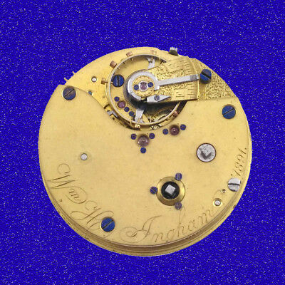 Ingham of Liverpool  19 Jewel Seconds Chronograph Fusee Watch Movement 1891