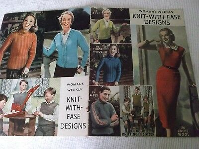 """Rare Original Vintage  Woman's Weekly, """"knit-With-Ease"""" Designs  Knitting Book ."""