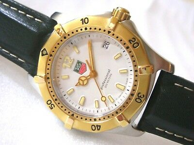 TAG HEUER 2000 classic, professional 200m,  middle diver, white/18k gold plated