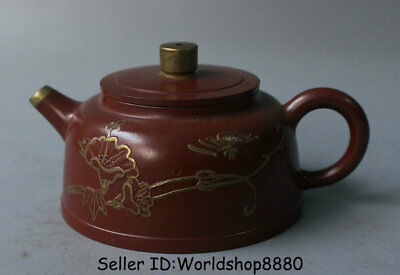 "4.8"" Old China Yixing Zisha Pottery Gild Carved Flower Handle Teapot Teakettle"