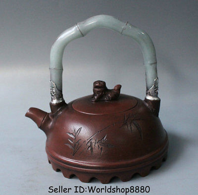 "5.6"" Old China Yixing Zisha Pottery Inlay Jade Lion Beast Bamboo Portable Teapot"