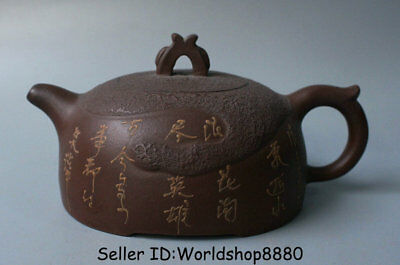 "6.4"" Marked Old China Yixing Zisha Redware Dynasty Words Handle Teapot Teakettle"