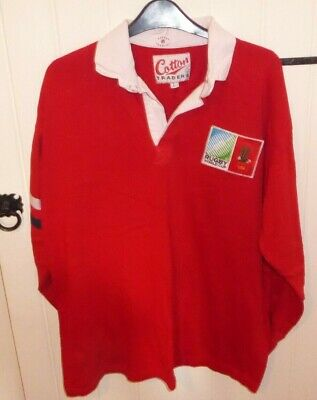 USA LARGE RED Cotton Traders Rugby Union World Cup Shirt