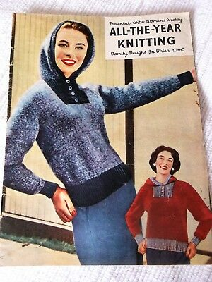 """ORIGINAL VINTAGE 1950's  WOMAN'S WEEKLY, """"ALL-THE-YEAR-KNITTING"""" KNITTING BOOK ."""