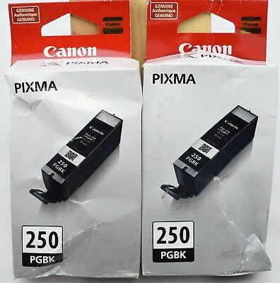 Lot-of-2 Genuine OEM Canon PGI-250 Black Ink Cartridges 6497B001 PIXMA NIB