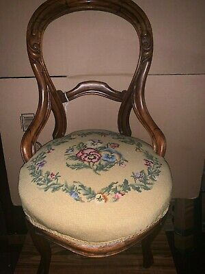 Antique Victorian Style Carved Back Chair  With Floral Needlepoint upholstery