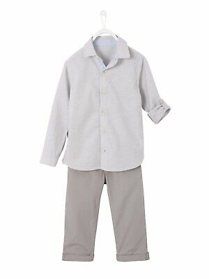 Vertbaudet Boy's Shirt & Cropped Trousers Grey Age 4 Years DH171 JJ 27