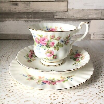 Vintage Royal Albert Moss Rose China Trio - Floral Cup Saucer & Plate