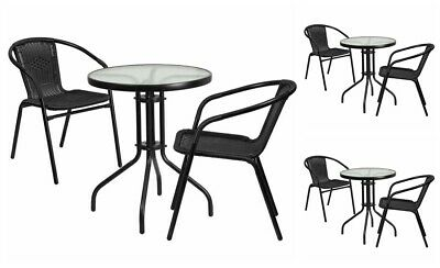 Outdoor Furniture Bistro Set 3 Pc Patio Garden Cafe Metal Seat Chair Round Table