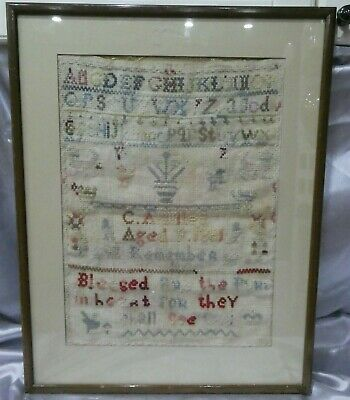 Antique 19th Century Sampler, Alphabet Motif and Verse, 1881 by C A Miles Aged 9