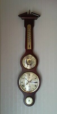 Excellent Condition FCC Wooden Wall Clock Barometer Thermometer